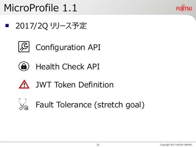 MicroProfile 1.1 Copyright 2017 FUJITSU LIMITED 2017/2Q リリース予定 Configuration API Health Check API JWT Token Definition Fau...