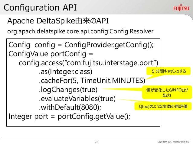 Configuration API Copyright 2017 FUJITSU LIMITED Config config = ConfigProvider.getConfig(); ConfigValue portConfig = conf...