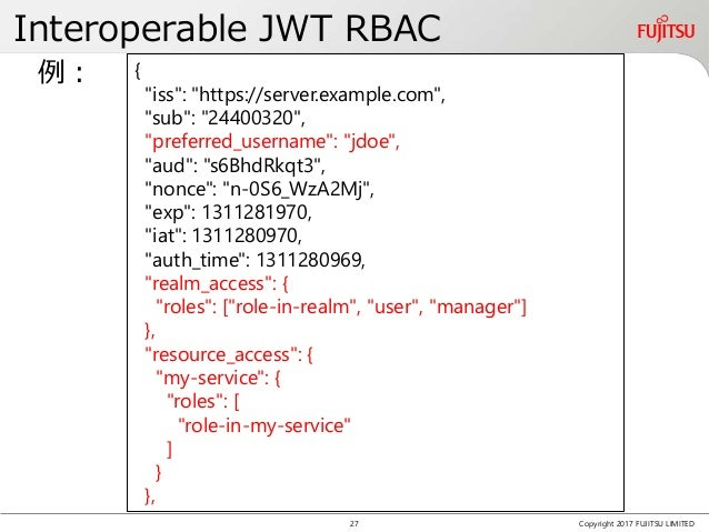 "Interoperable JWT RBAC Copyright 2017 FUJITSU LIMITED { ""iss"": ""https://server.example.com"", ""sub"": ""24400320"", ""preferred..."