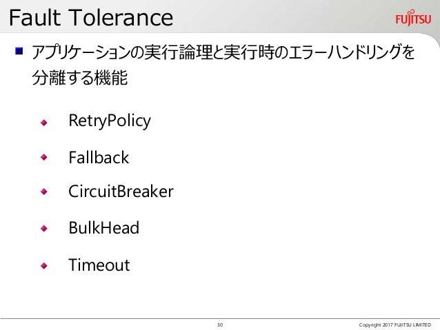 Fault Tolerance Copyright 2017 FUJITSU LIMITED RetryPolicy Fallback アプリケーションの実行論理と実行時のエラーハンドリングを 分離する機能 CircuitBreaker Bul...