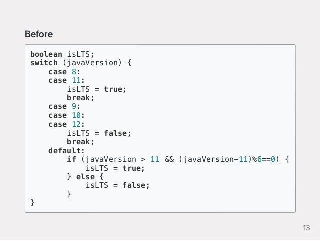 Before boolean isLTS; switch (javaVersion) { case 8: case 11: isLTS = true; break; case 9: case 10: case 12: isLTS = false...