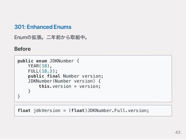 301:EnhancedEnums Enumの拡張。二年前から取組中。 Before public enum JDKNumber { YEAR(18), FULL(18.3); public final Number version; JDKN...