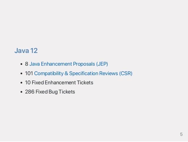 Java12 8JavaEnhancementProposals(JEP) 101Compatibility&SpecificationReviews(CSR) 10FixedEnhancementTickets 286FixedBugTick...