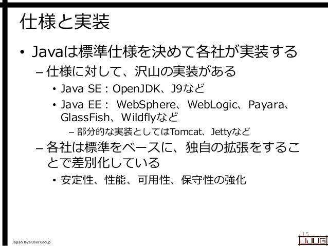 Japan Java User Group 仕様と実装 • Javaは標準仕様を決めて各社が実装する – 仕様に対して、沢山の実装がある • Java SE:OpenJDK、J9など • Java EE: WebSphere、WebLogic、...