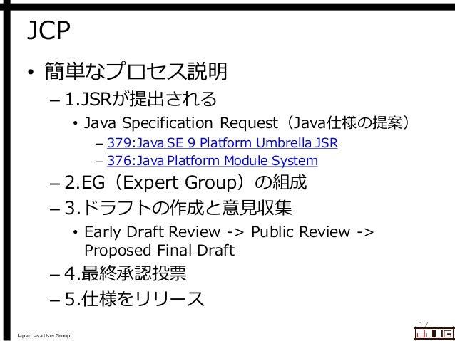 Japan Java User Group JCP • 簡単なプロセス説明 – 1.JSRが提出される • Java Specification Request(Java仕様の提案) – 379:Java SE 9 Platform Umbre...