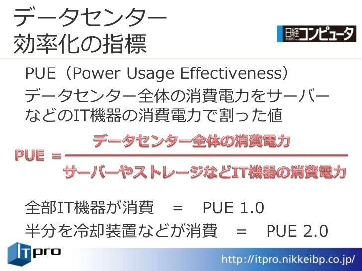データセンター 効率化の指標 PUE(Power Usage Effectiveness) データセンター全体の消費電力をサーバー などのIT機器の消費電力で割った値     全部IT機器が消費 = PUE 1.0 半分を冷却装置などが消費 =...