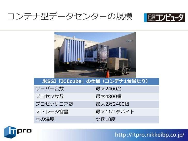 コンテナ型データセンターの規模         米SGI「ICEcube」の仕様(コンテナ1台当たり)    サーバー台数        最大2400台    プロセッサ数        最大4800個    プロセッサコゕ数      最大2...