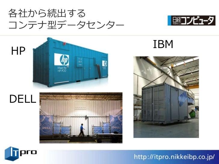 各社から続出する コンテナ型データセンター                 IBM HP    DELL