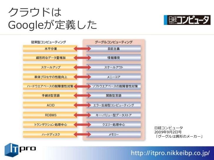 クラウドは Googleが定義した                   日経コンピュータ               2009年9月2日号               「グーグルは異形のメーカー」