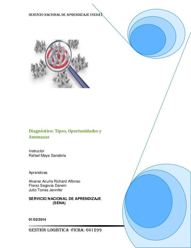 SERVICIO NACIONAL DE APRENDIZAJE (SENA)  Diagnóstico: Tipos, Oportunidades y Amenazas Instructor Rafael Maya Sanabria  Apr...