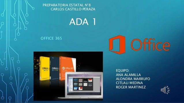 ADA 1 OFFICE 365 EQUIPO: ANA ALAMILLA ALONDRA MARRUFO CITLALI MEDINA ROGER MARTINEZ PREPARATORIA ESTATAL N°8 CARLOS CASTIL...