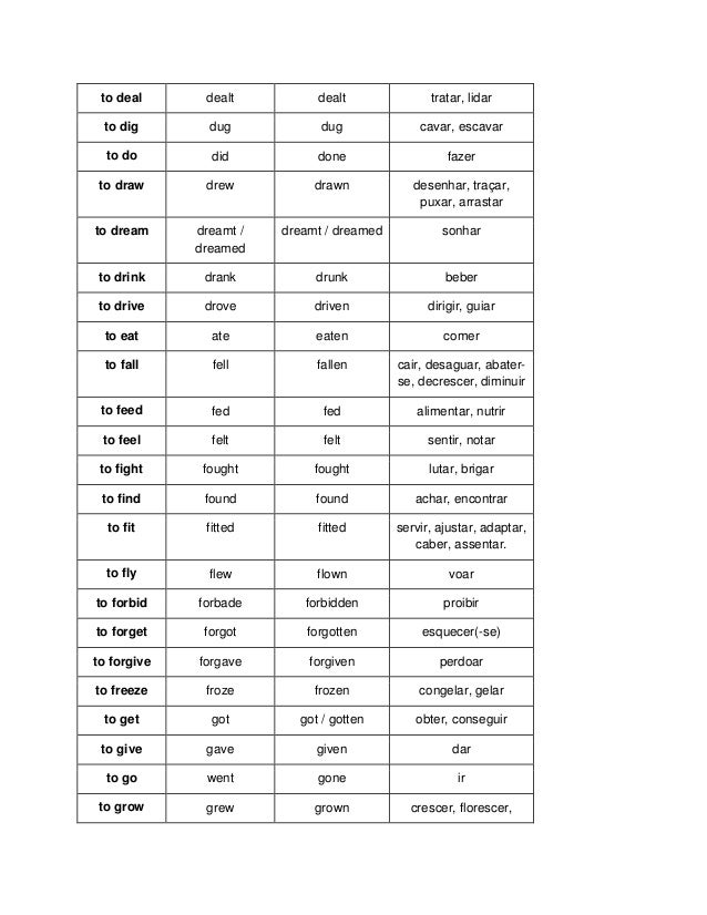 irregular verbs traduction francaise pdf