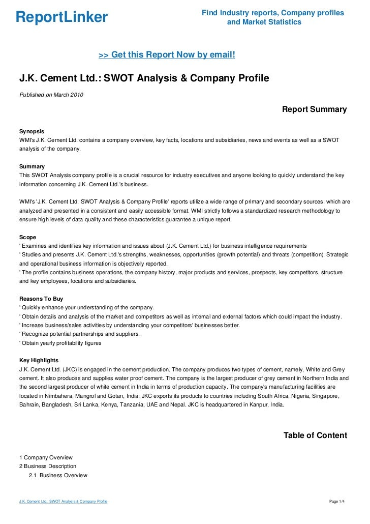Jk Cement Webmail : J k cement ltd swot analysis company profile