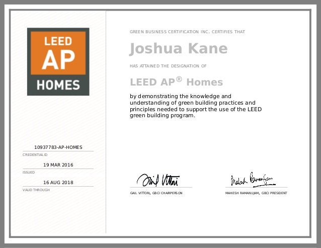 LEED AP Homes Certificate