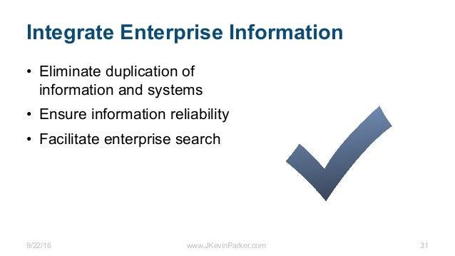 9/22/16 www.JKevinParker.com 31 Integrate Enterprise Information • Eliminate duplication of information and systems • Ensu...