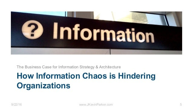 9/22/16 www.JKevinParker.com 5 How Information Chaos is Hindering Organizations The Business Case for Information Strategy...