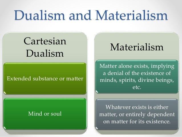 descartes dualism Descartes' mind/matter distinction can be found in his meditations and is a particular kind of substance dualism most accurately called cartesian interactionist dualism.