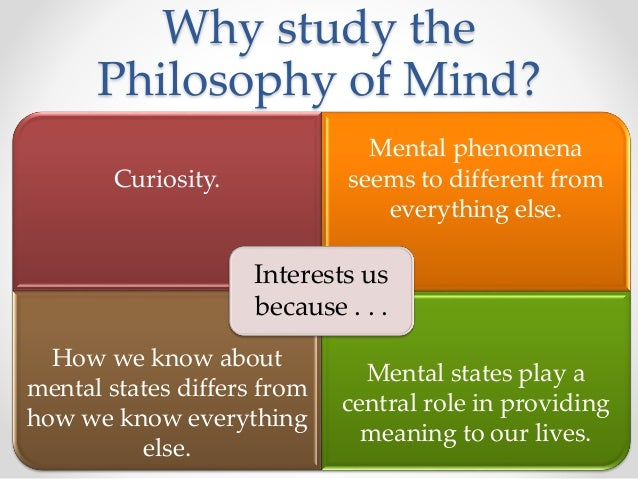 the role of philosophy of mind The master's in philosophy of mind is a specialisation of the master's programme  in philosophy at radboud university in nijmegen come see if it suits your.