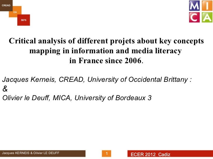 Critical analysis of different projets about key concepts          mapping in information and media literacy              ...