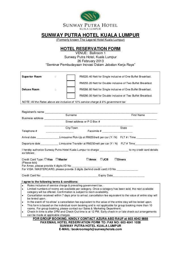 accommodation booking form template - hotel reservation form seminar pembudayaan inovasi dalam