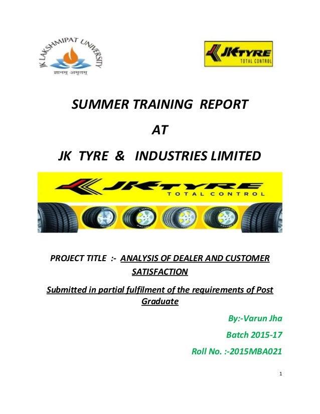 JK Tyre summer internship report on two wheeler tyre segment