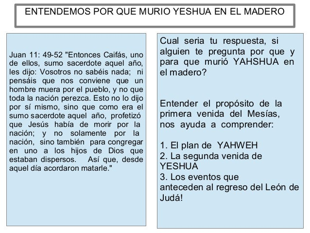 ENTENDEMOS POR QUE MURIO YESHUA EN EL MADERO Cual seria tu respuesta, si alguien te pregunta por que y para que murió YAHS...