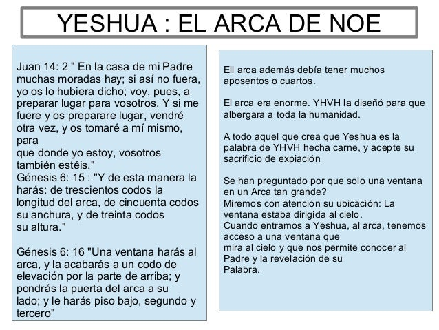 """YESHUA : EL ARCA DE NOE Juan 14: 2 """" En la casa de mi Padre muchas moradas hay; si así no fuera, yo os lo hubiera dicho; v..."""