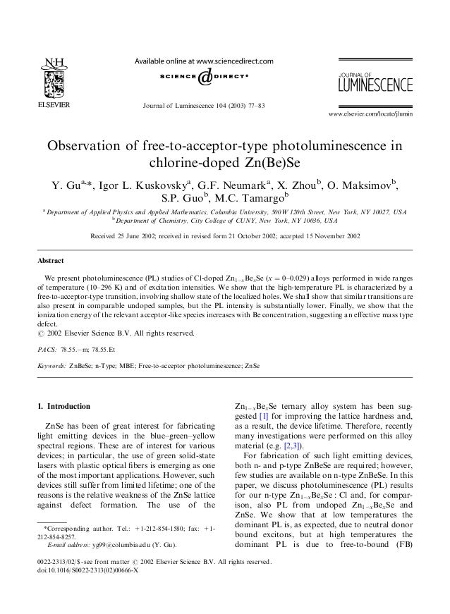Journal of Luminescence 104 (2003) 77–83Observation of free-to-acceptor-type photoluminescence inchlorine-doped Zn(Be)SeY....