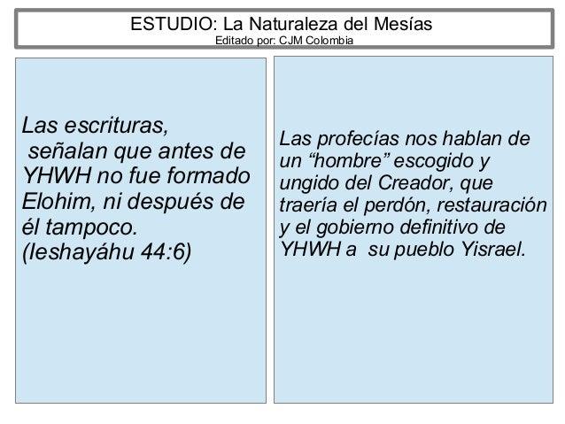 ESTUDIO: La Naturaleza del Mesías Editado por: CJM Colombia Las escrituras, señalan que antes de YHWH no fue formado Elohi...