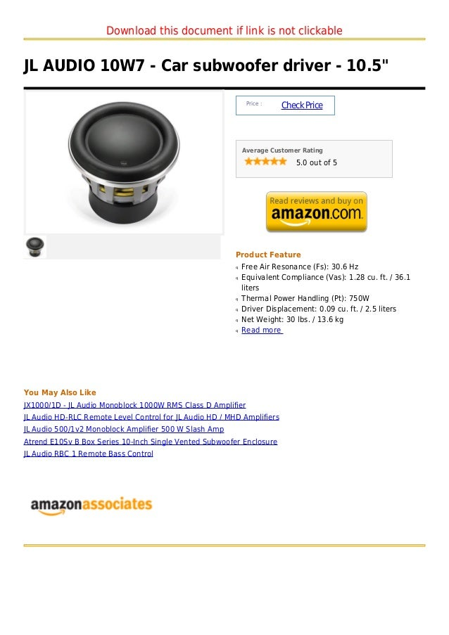 "Download this document if link is not clickableJL AUDIO 10W7 - Car subwoofer driver - 10.5""                               ..."