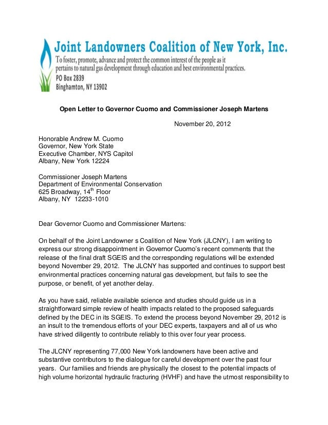 Open Letter to Governor Cuomo and Commissioner Joseph Martens                                               November 20, 2...