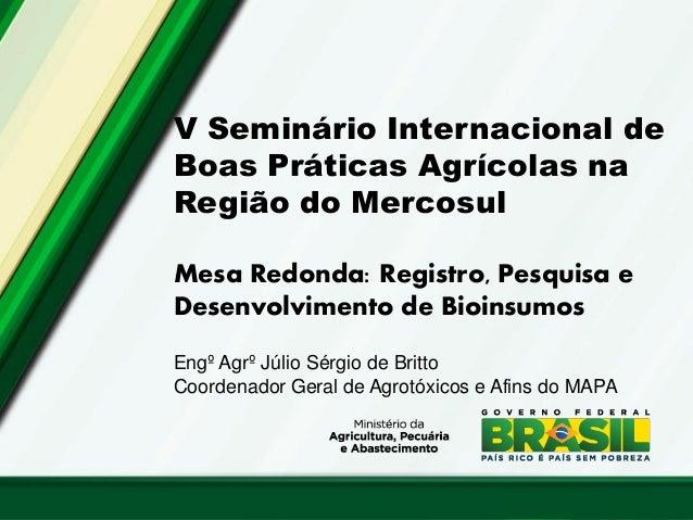 V Seminário Internacional de Boas Práticas Agrícolas na Região do Mercosul  Mesa Redonda: Registro, Pesquisa e Desenvolvim...