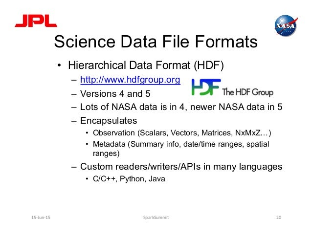 Science Data File Formats • Hierarchical Data Format (HDF) – http://www.hdfgroup.org – Versions 4 and 5 – Lots of NASA...