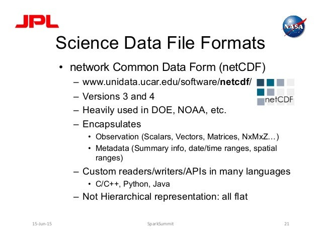 Science Data File Formats • network Common Data Form (netCDF) – www.unidata.ucar.edu/software/netcdf/ – Versions 3 and ...