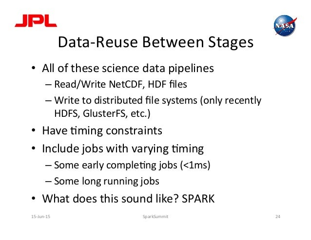 Data-‐Reuse  Between  Stages   • All  of  these  science  data  pipelines   –Read/Write  NetCDF,  ...