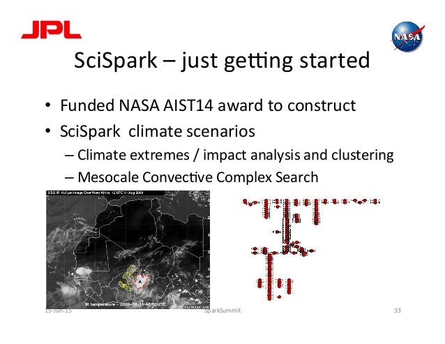 SciSpark  –  just  geong  started   • Funded  NASA  AIST14  award  to  construct   • SciSpark  ...