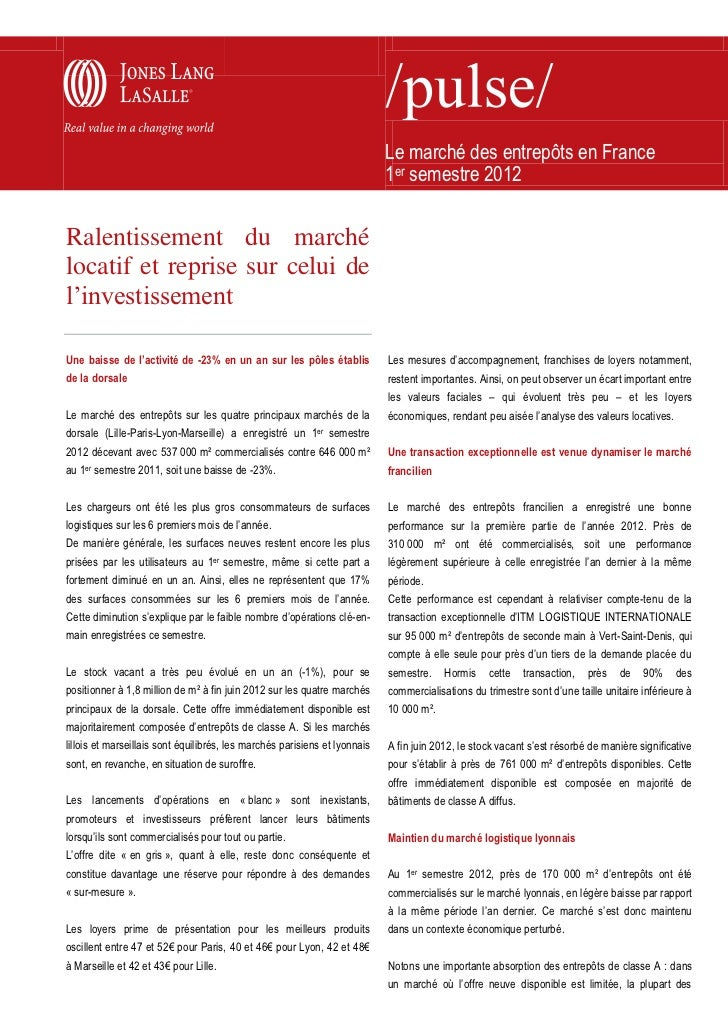 Le marché des entrepôts en France                                                                            1er semestre ...