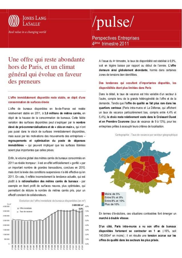Perspectives Entreprises 4ème trimestre 2011 Une offre qui reste abondante hors de Paris, et un climat général qui évolue ...