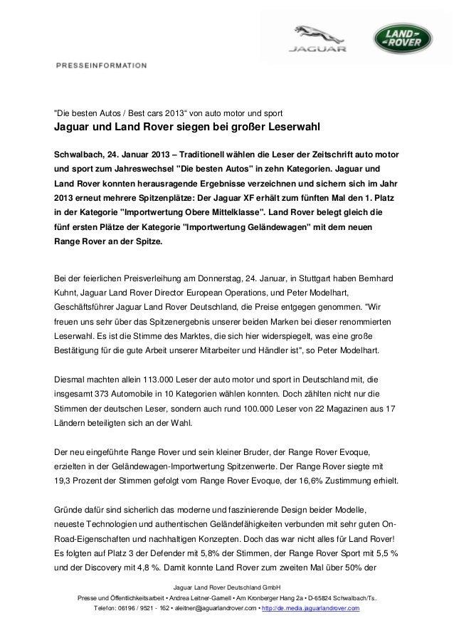 """""""Die besten Autos / Best cars 2013"""" von auto motor und sportJaguar und Land Rover siegen bei großer LeserwahlSchwalbach, 2..."""