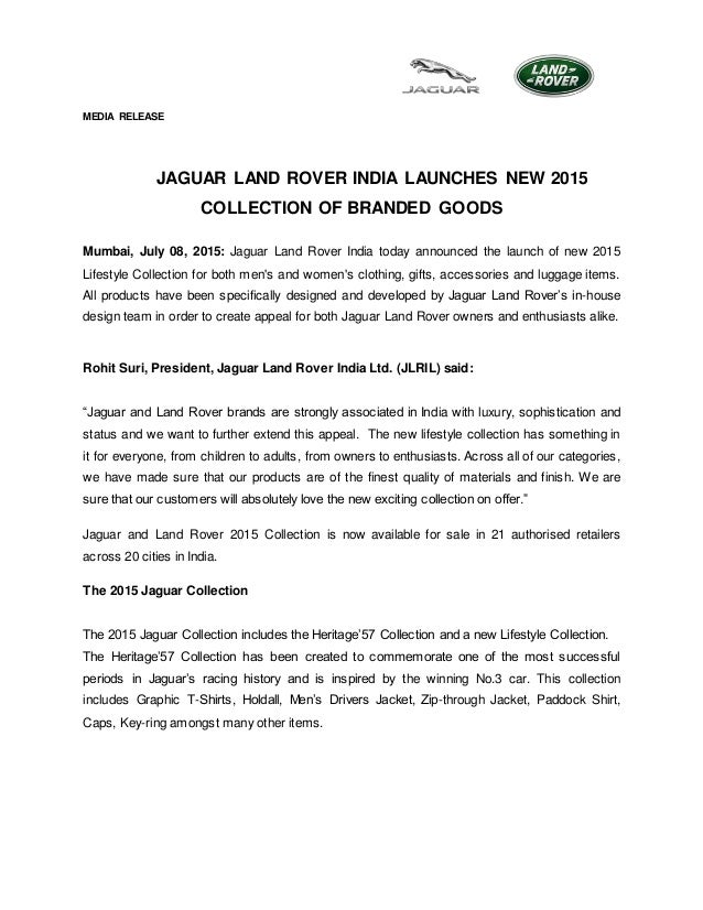Jaguar Land Rover India launches their official clothes, accessories, apperels