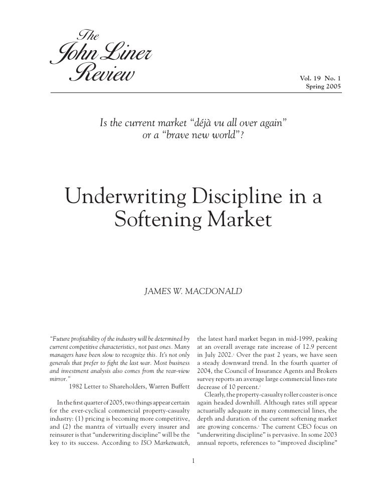 Underwriting Discipline in Softening Markets