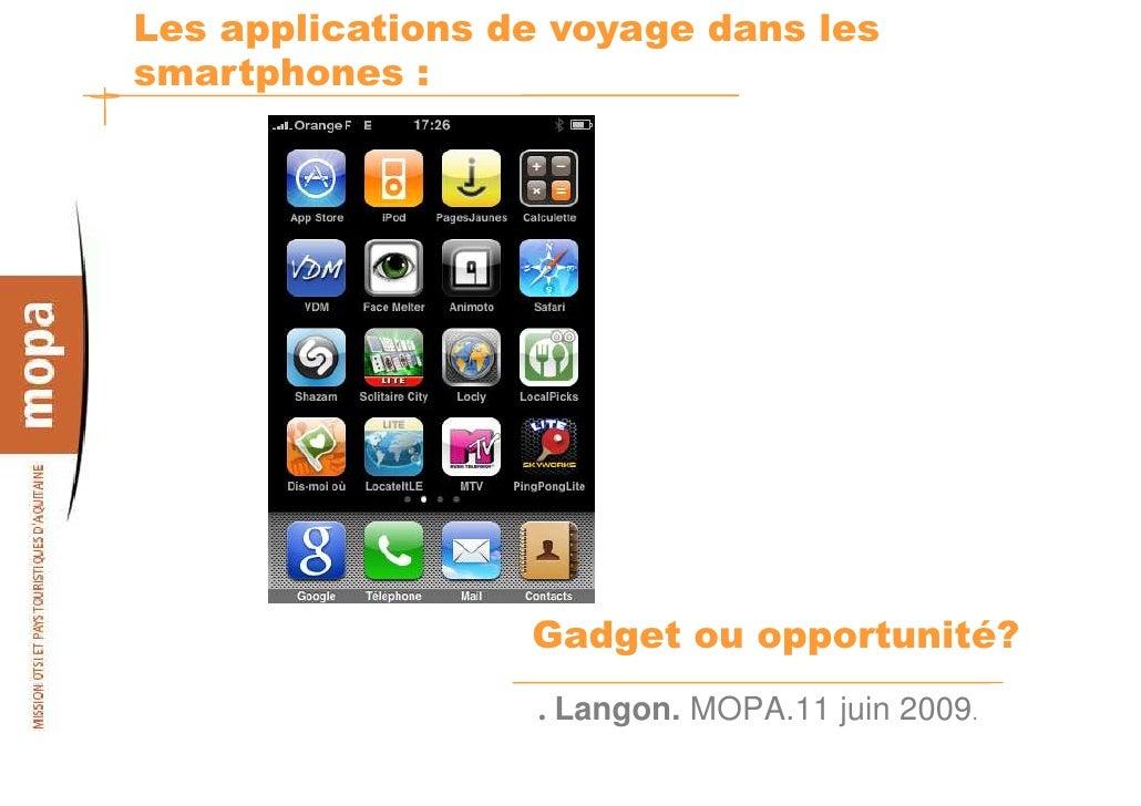 Les applications de voyage dans les smartphones :                       Gadget ou opportunité?                   . Langon....