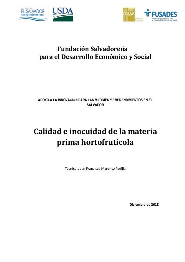 Fundación Salvadoreña para el Desarrollo Económico y Social APOYO A LA INNOVACIÓN PARA LAS MIPYMES Y EMPRENDIMIENTOS EN EL...