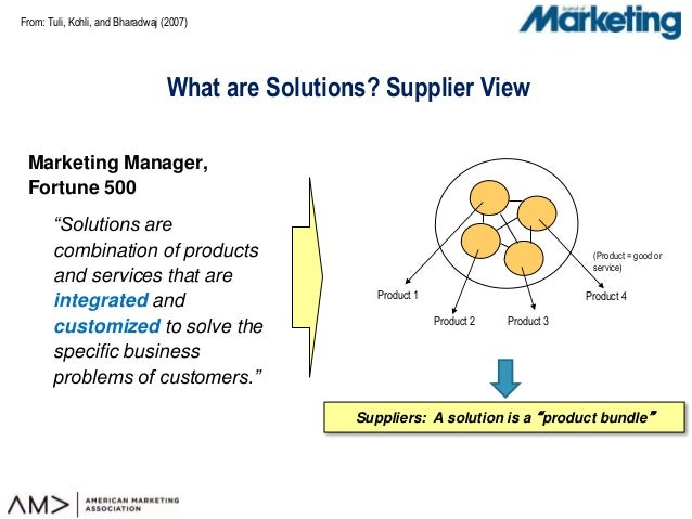 "From: Tuli, Kohli, and Bharadwaj (2007) What are Solutions? Supplier View Marketing Manager, Fortune 500 ""Solutions are co..."