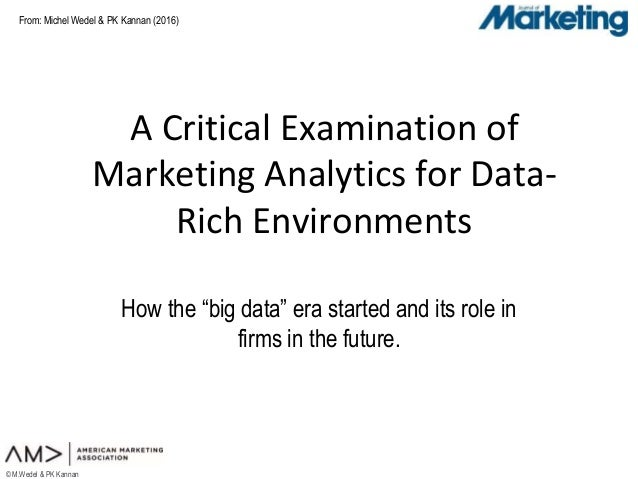 """From: © M.Wedel & PK Kannan A Critical Examination of Marketing Analytics for Data- Rich Environments How the """"big data"""" e..."""