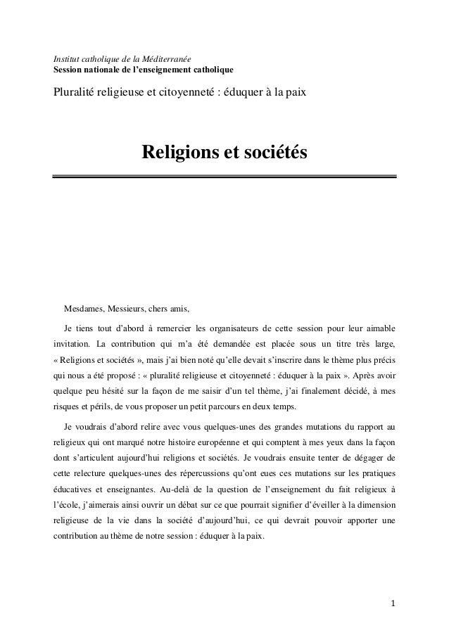 1Institut catholique de la MéditerranéeSession nationale de l'enseignement catholiquePluralité religieuse et citoyenneté :...