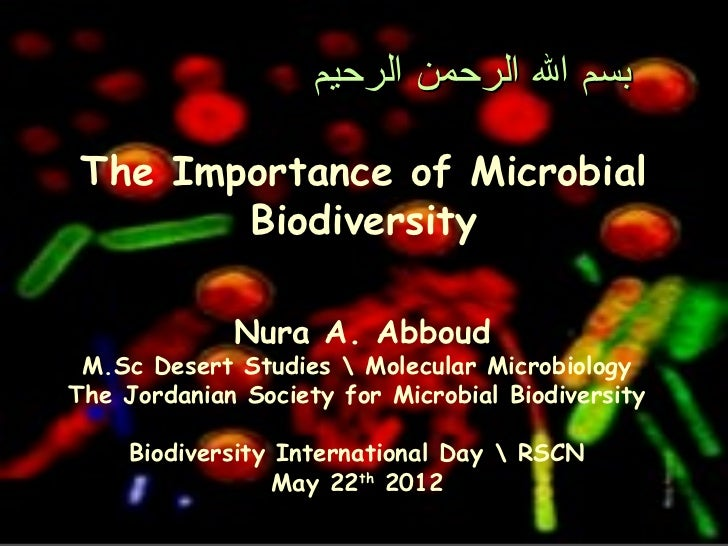 ‫بسم ال الرحمن الرحيم‬ The Importance of Microbial        Biodiversity             Nura A. Abboud M.Sc Desert Studies  Mol...