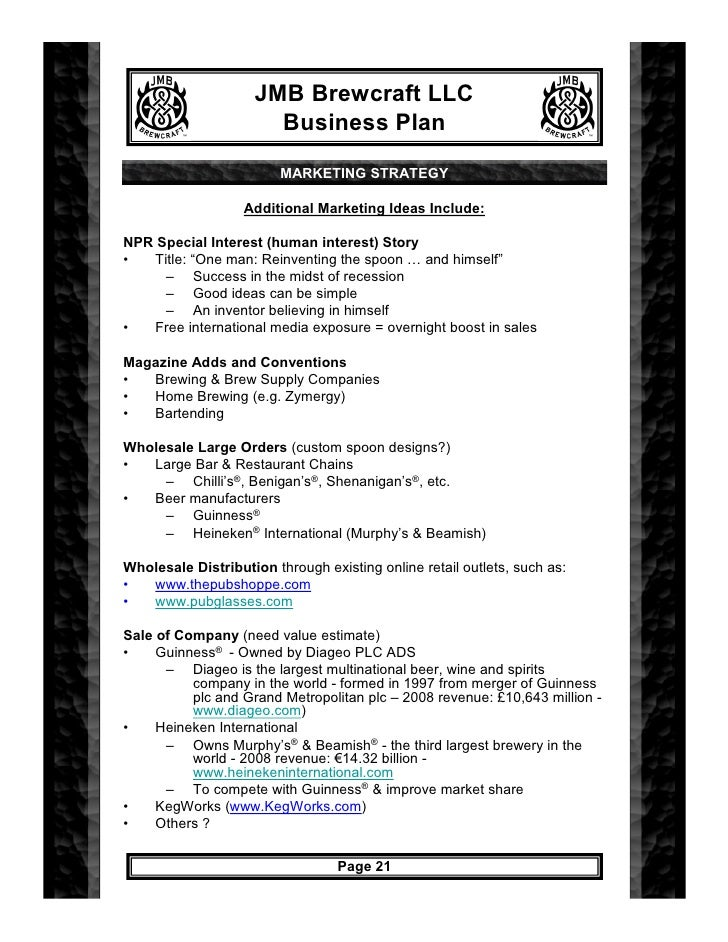 Jmb Brewcraft Business Plan 7 19 09 – Home Brew Supply Business Plan