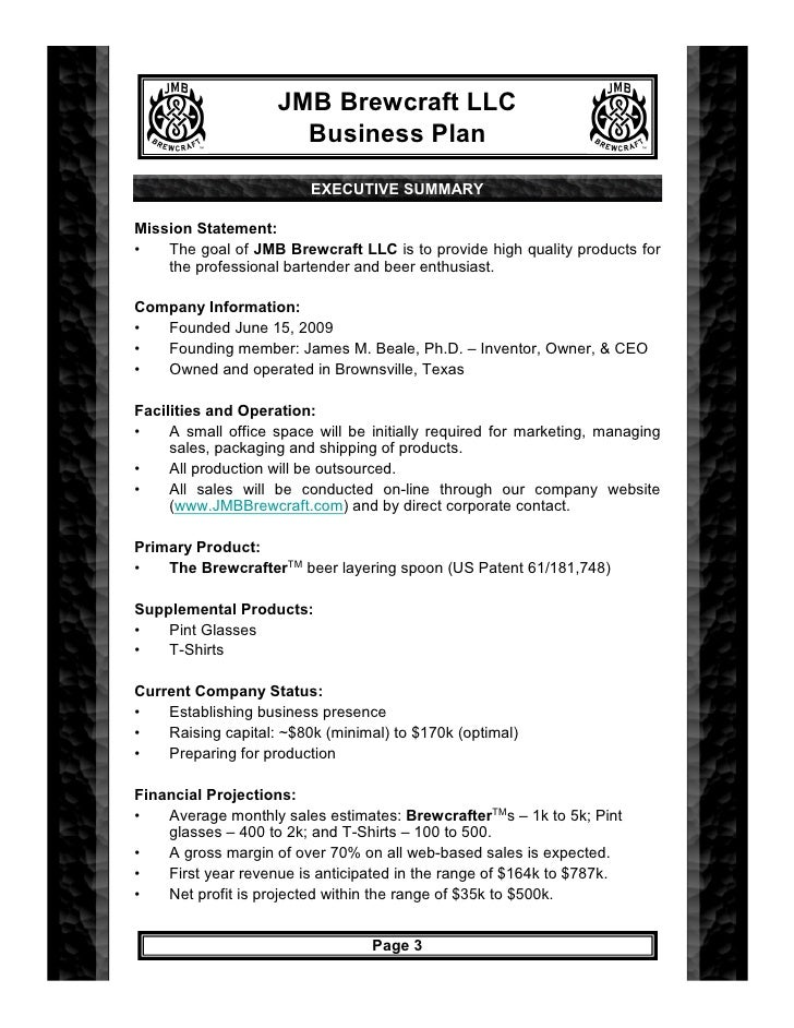 Mobile bartending business plan