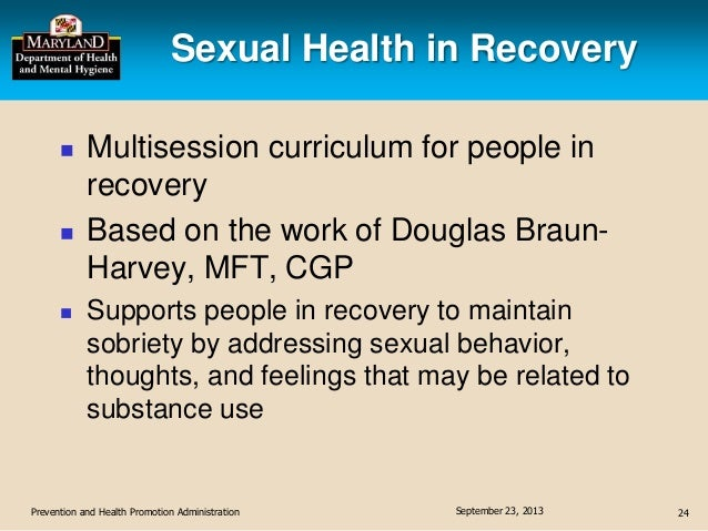Sexual health in recovery curriculum
